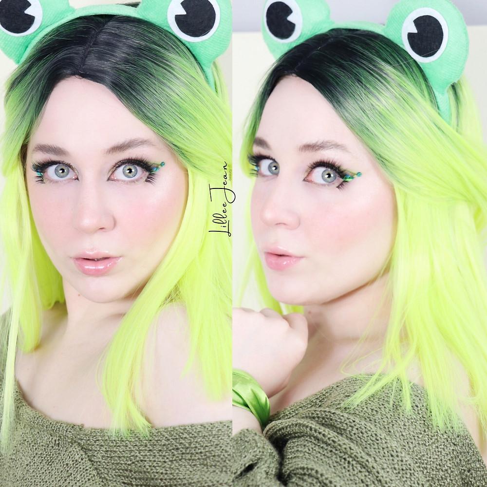 Disney KERMIT Muppets Green RHINESTONE Too Faced KILLER LINER Makeup Tutorial 2021 | Lillee Jean