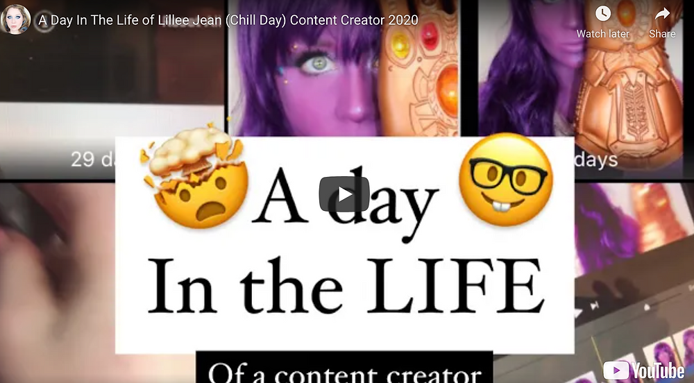 A Day In The Life of Lillee Jean (Chill Day) Content Creator 2020Hi Jeaniez! Here is a day in my life, or rather, a little SLICE. With no events, I thought this more chill day would be fun, especially behind the scenes (BTS) of my Thanos makeup look being recorded. Thank you for the love, support, you guy's mean everything to me!!