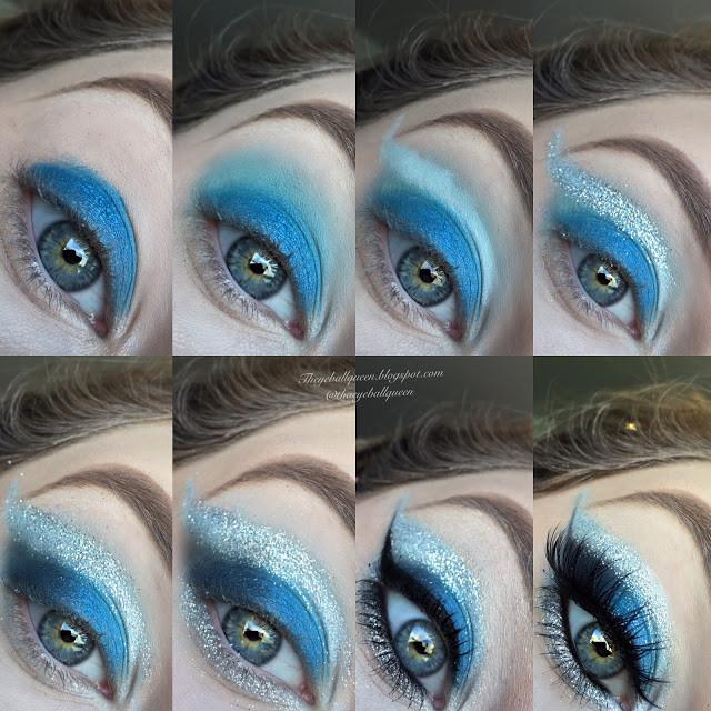 PowerPuff Girls: Bubbles Dramatic Glittery Blue Cut Crease Makeup Tutorial 2016 | Lillee Jean