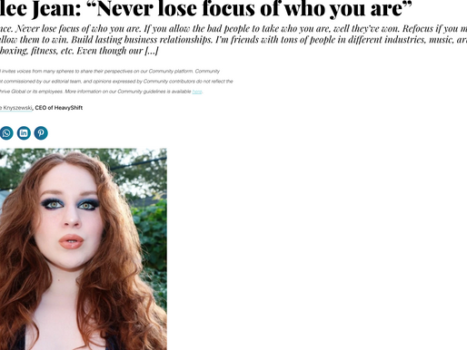 """Lillee Jean """"Never lose focus of who you are"""" (Thrive Global) 2021"""