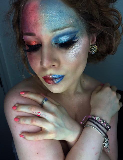 Ice Queen & Fire Queen Halloween Glittery Makeup Tutorial 2016 | Lillee Jean