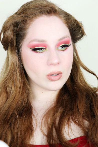 Red Eyeshadow and Green Liner by Lillee Jean