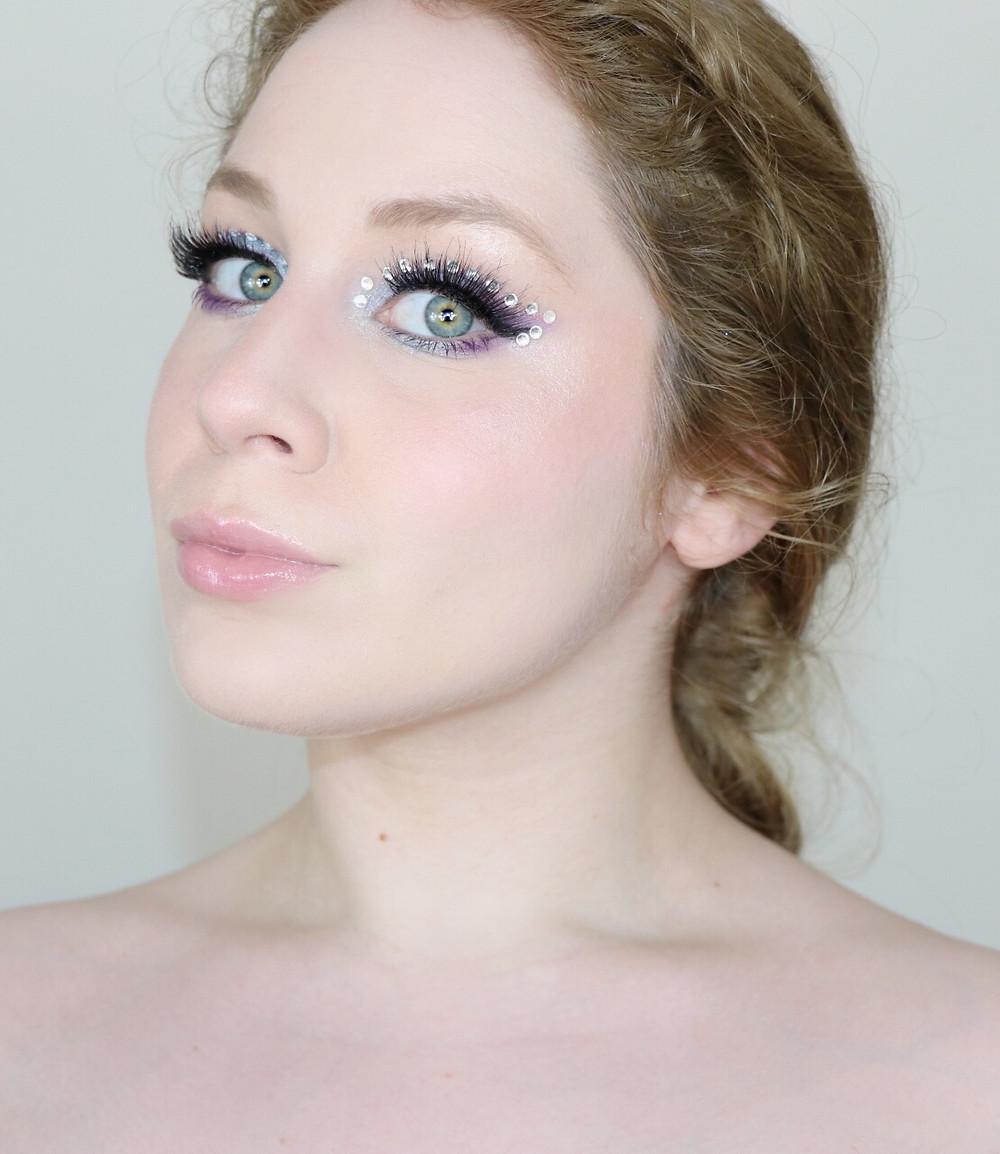 EUPHORIA Inspired RHINESTONE HUDA BEAUTY Purple Makeup Tutorial 2020   Lillee Jean