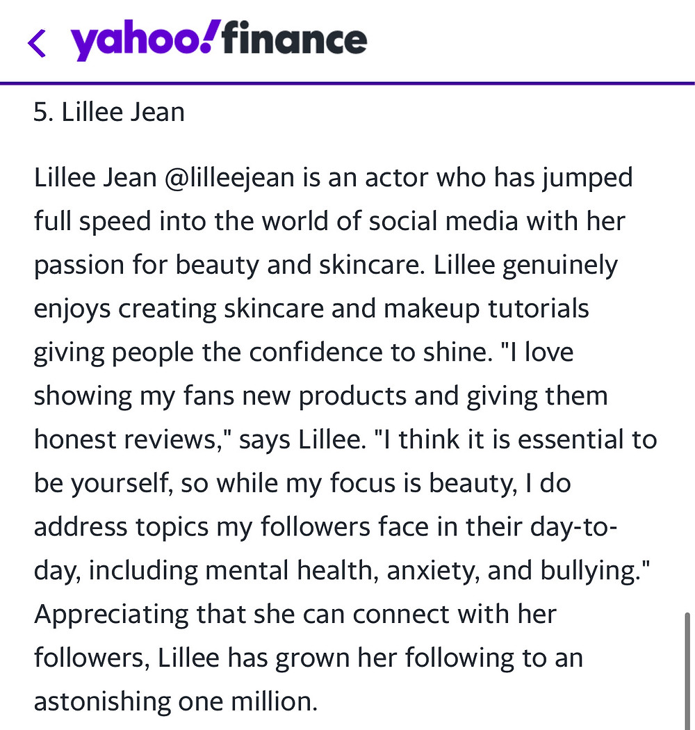 Yahoo Finance Article Featuring Lillee Jean 2020