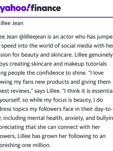 Yahoo Finance Feature TOP 5 INFLUENCER Lillee Jean