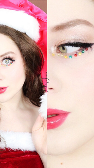 Claus CHRISTMAS Rhinestone LINER Holiday Makeup Tutorial 2020   Lillee Jean