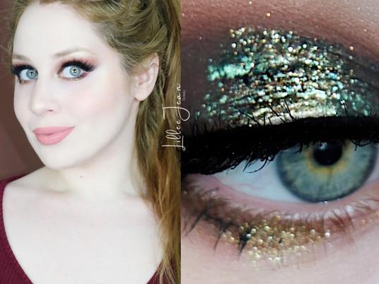 Holiday Green Gold Glitter BOBBI BROWN Nude Drama II  Makeup Tutorial 2020 | Lillee Jean