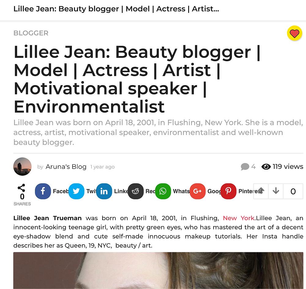 Lillee Jean Featured: Beauty blogger   Model   Actress   Artist   Environmentalist
