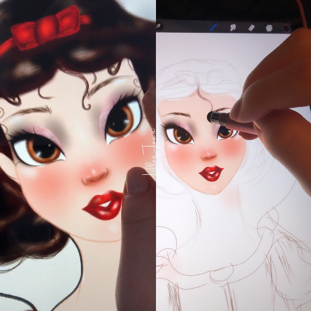 Lillee Jean Art - Snow White Digital Painting Behind The Scenes | Vlog 2021
