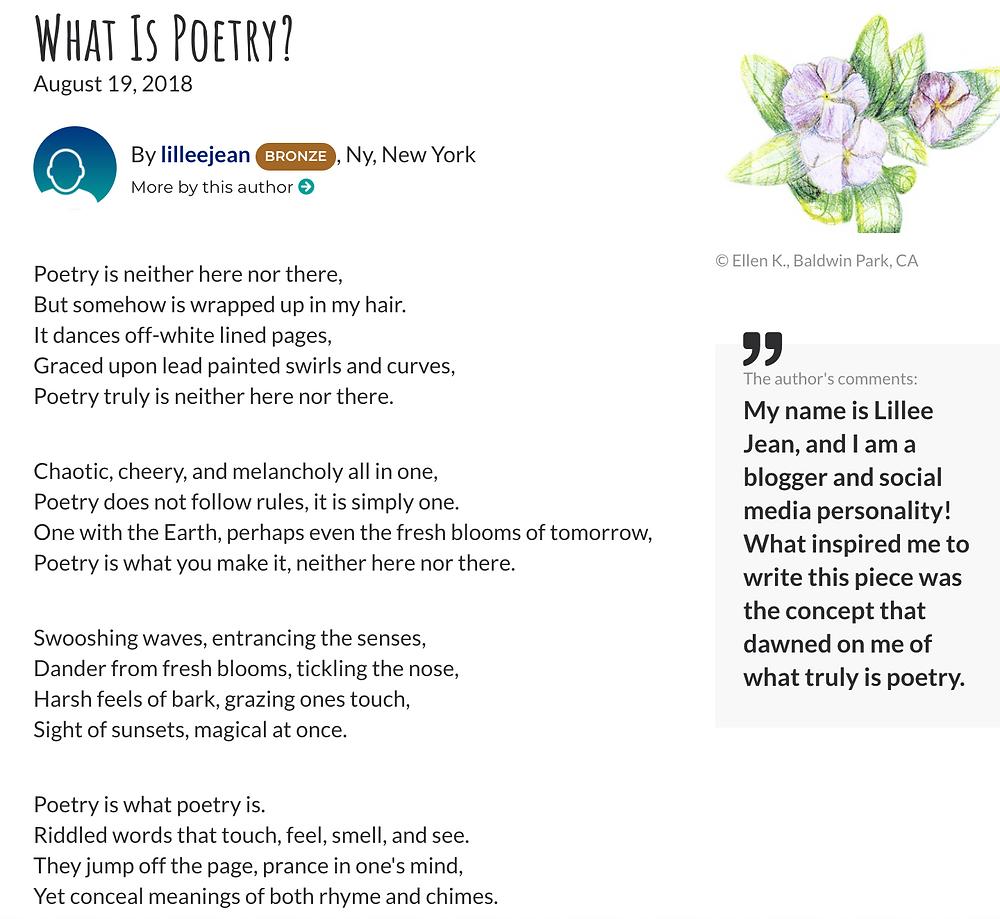 Lillee Jean Teenink at 18 Poem Published