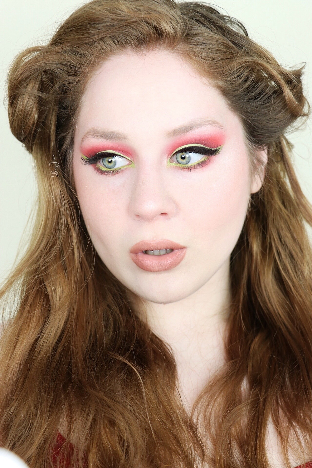 Pouty Nude lipstick, coral red eyeshadow lillee jean