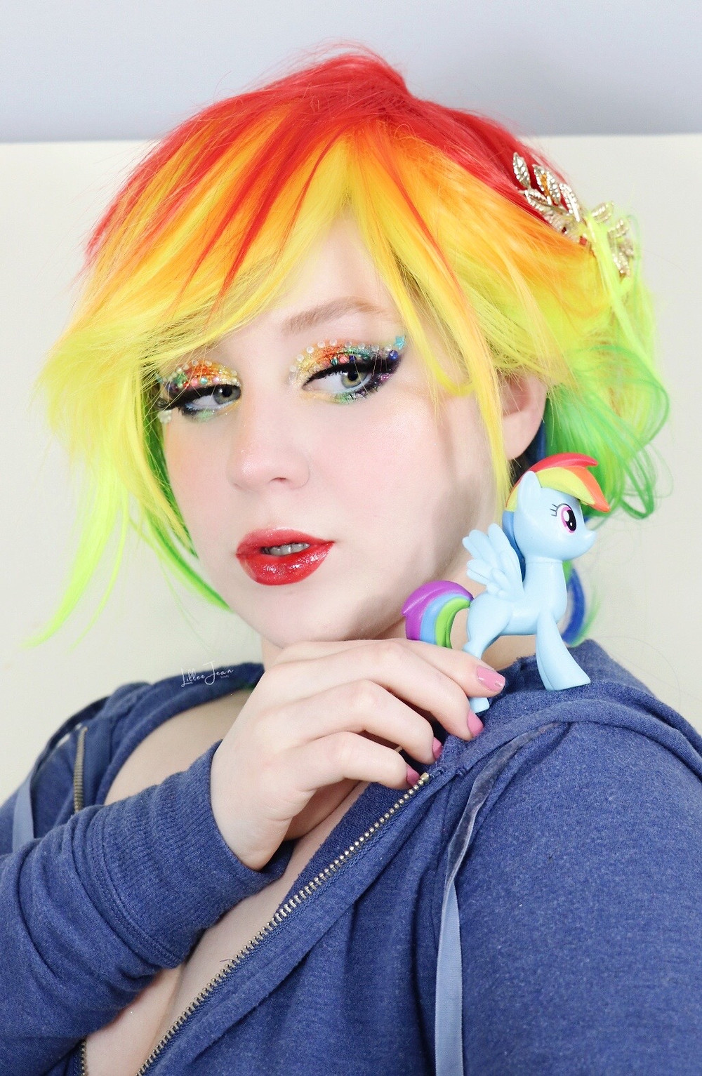 Rainbow Dash My Little Pony Rhinestone Glittery Spring Makeup Tutorial 2021 | Lillee Jean
