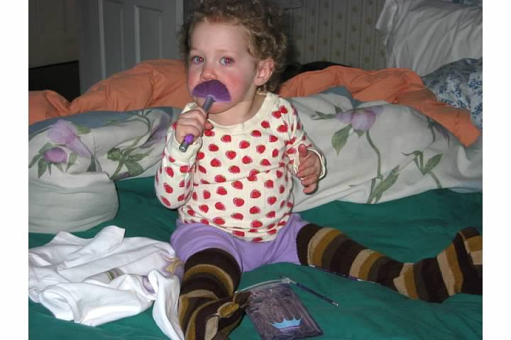 Me at 3 playing with Claires Brushes