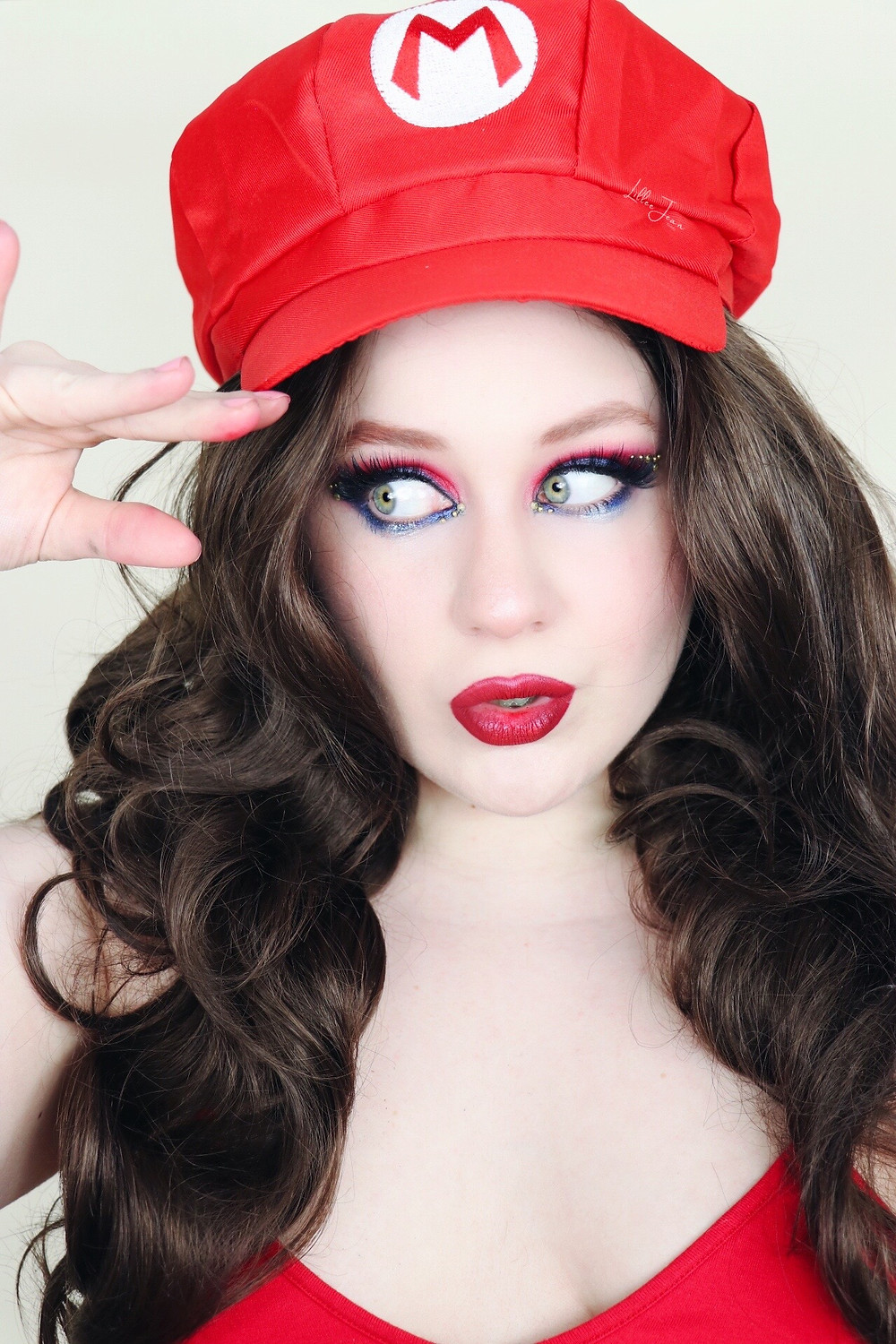 Super Mario Makeup RED AND BLUE RHINESTONE GLAM Tutorial 2021 | Lillee Jean