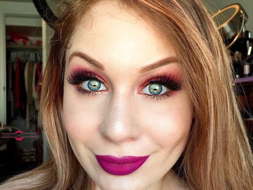 Eye Catching Vibrant Pink and Orange Sunset Makeup Tutorial