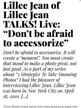 """THRIVE GLOBAL: Lillee Jean of Lillee Jean TALKS! Live: """"Don't Be Afraid to Accessorize"""" 2021"""