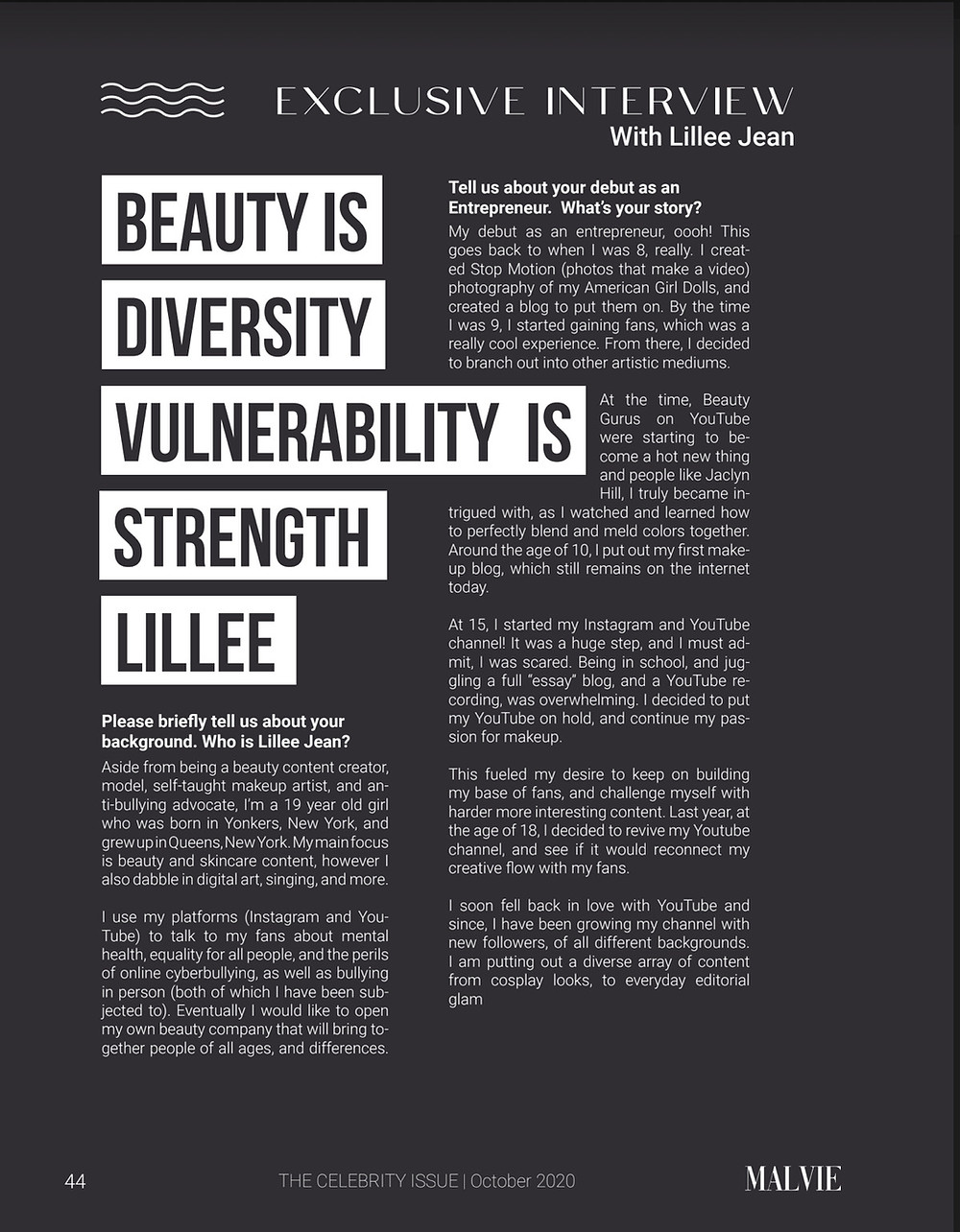 Malvie FRENCH Magazine Lillee Jean CYBERBULLYING INTERVIEW