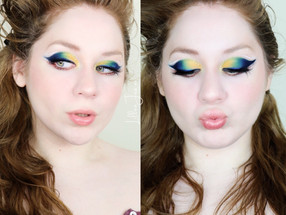 Too Faced Light My Fire Blue Green COLORFUL White Liner Makeup Tutorial 2021 | Lillee Jean