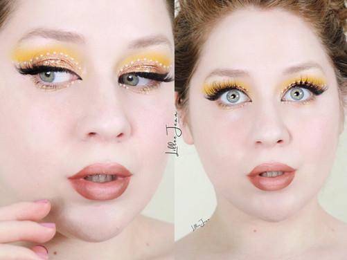 L.A. Girl Desert Dream Pearl Rhinestones Pantone 2021 Yellow Makeup Tutorial   Lillee Jean