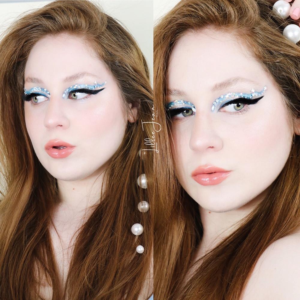 Blue Gemstone Eyeliner + Glowy Skin Spring Makeup Tutorial 2021 | Lillee Jean