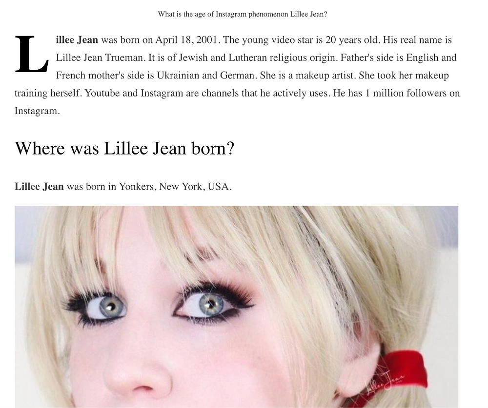 Think of a Star: Lillee Jean on International www.Negibi.com