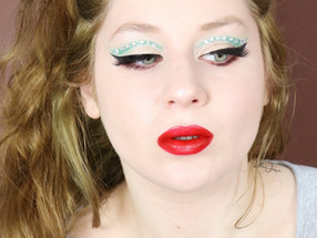 L.A. Girl Holiday GREEN Rhinestone Crease MERCIER Red Lipstick Makeup Tutorial 2020 | Lillee Jean