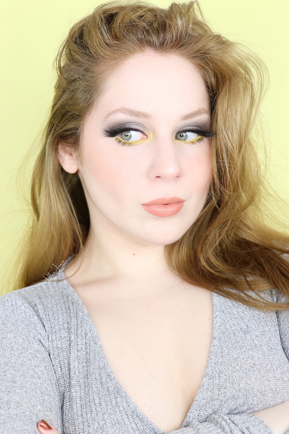 Pantone 2021 COLOR OF THE YEAR Grey and Yellow Makeup Tutorial _ Lillee Jean