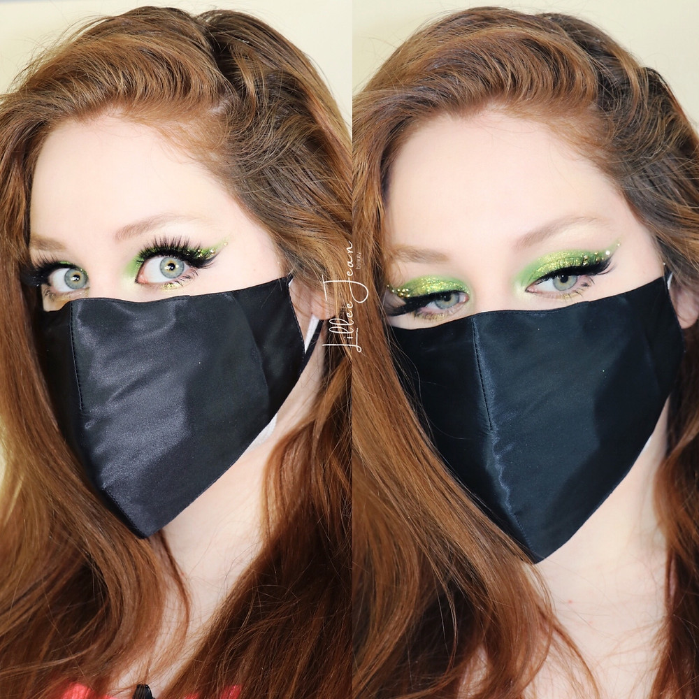 Rhinestone Green Masked Makeup by Lillee Jean