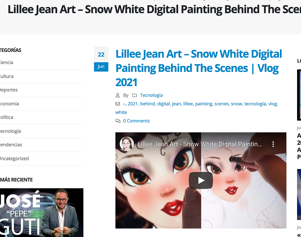 Lillee Jean Spanish RSS Feed Mention - Snow White Painting 2021