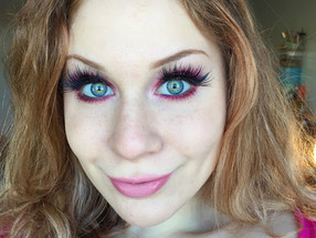 Bright Red & Electric Pink Glittery Halo Eye Makeup Tutorial