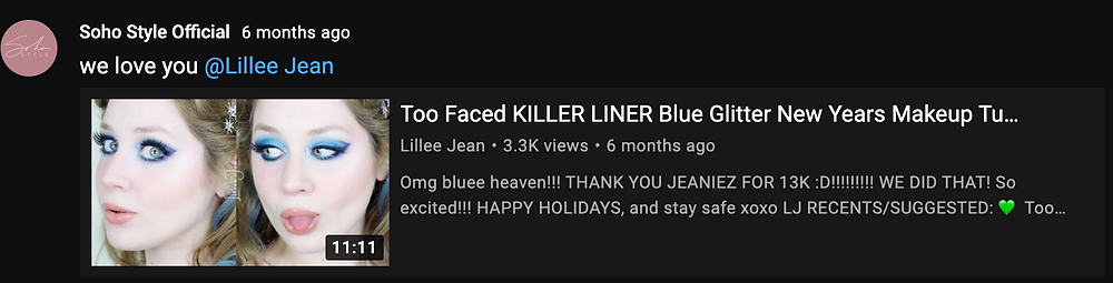 Lillee Jean Shouted Out By Soho Style On YouTube