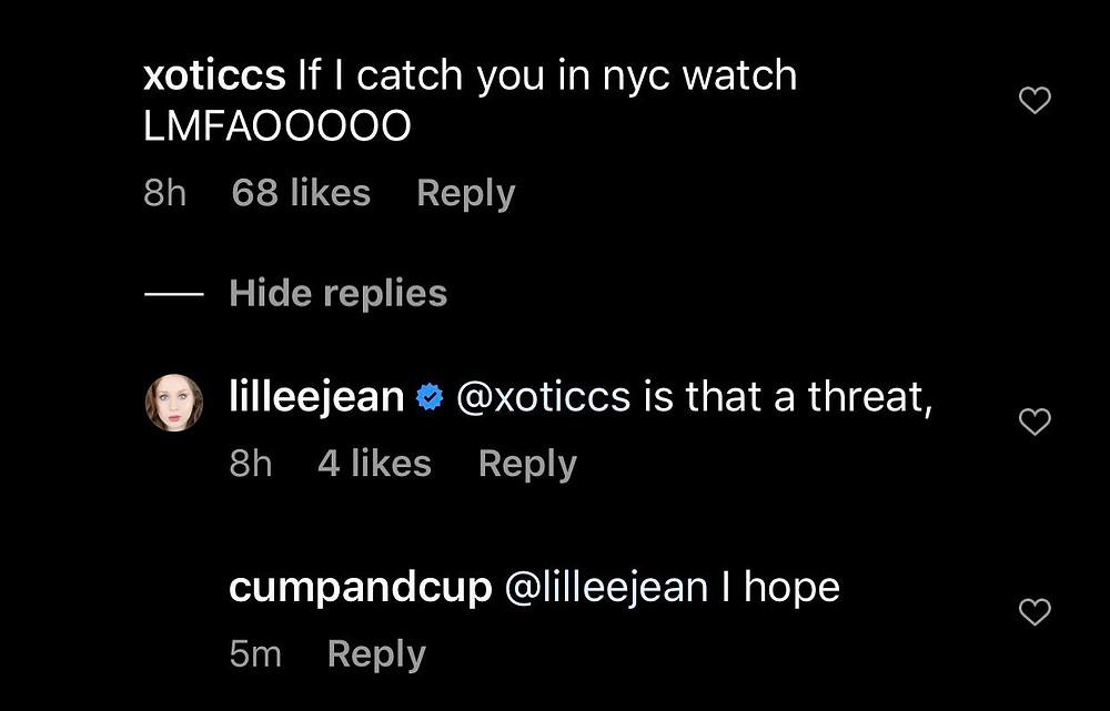 Lillee Jean being threatened on Instagram.