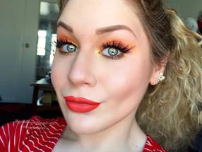 Vibrant Glittery Orange & Yellow Smokey Eye Makeup Tutorial Ft. My Makeup Brush Set