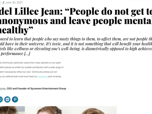 """Lillee Jean Published In Thrive Global 