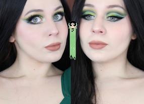 Power Puff Girls Buttercup Green Cut Crease Makeup Tutorial 2020   Lillee Jean