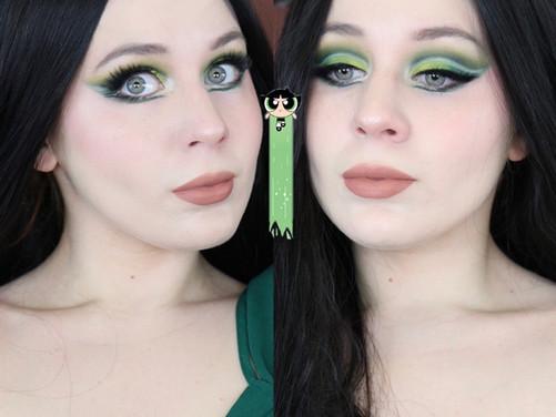 Power Puff Girls Buttercup Green Cut Crease Makeup Tutorial 2020 | Lillee Jean