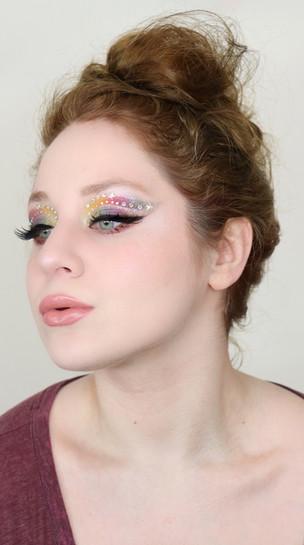 NYX Ultimate Edit RAINBOW Gemstone Cut Crease Glittery Makeup Tutorial GRWM 2020   Lillee Jean