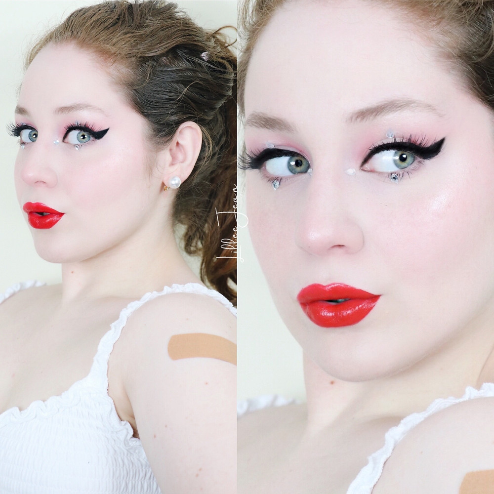 Classic Red Lip & Rhinestone Winged Liner 2021 | Lillee Jean