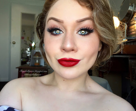 Classic Thick Black Winged Eyeliner and Ruby Red Lips Makeup Tutorial 2016   Lillee Jean