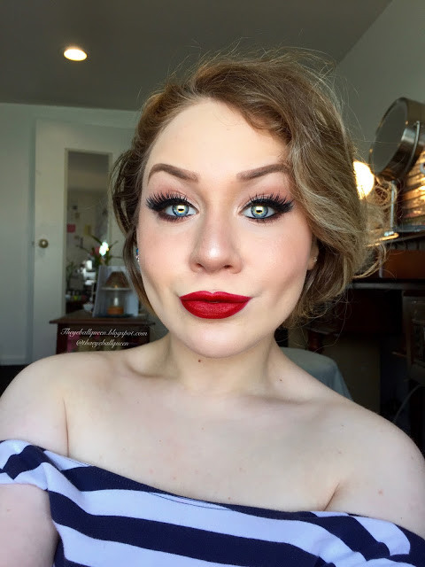 Classic Thick Black Winged Eyeliner and Ruby Red Lips Makeup Tutorial 2016 | Lillee Jean