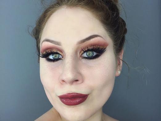 Glamorous & Dramatic Shimmery Warm Toned Cut Crease Makeup Tutorial
