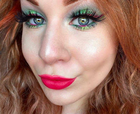 Watermelon Inspired Vibrant Glittery Green & Pink Makeup Tutorial | Fruit Series