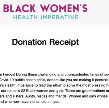 Lillee Jean Black Women's Health Imperative Donation 2020