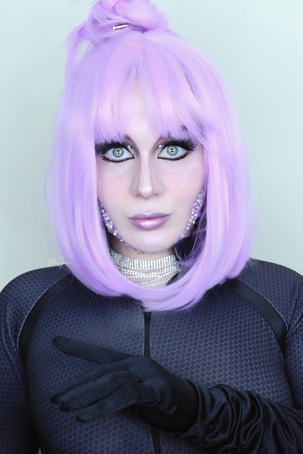 Cyber Girl Halloween Makeup | Purple Rhinestones 2021 | Lillee Jean