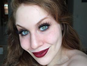 Easy Glam – Warm Burgundy Red Lips & False Lashes