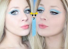 Power Puff Girls Bubbles Blue Cut Crease Eye Makeup Tutorial 2020   Lillee Jean