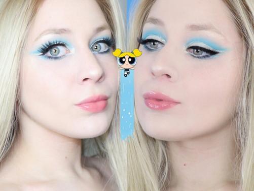 Power Puff Girls Bubbles Blue Cut Crease Eye Makeup Tutorial 2020 | Lillee Jean
