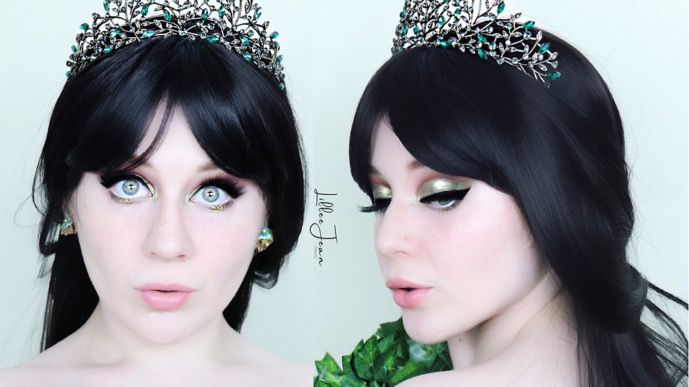 Forest Queen Halloween Makeup   Green Eyeshadow Tutorial 2021   Lillee Jean