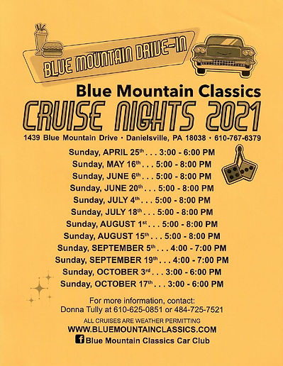 2021 Blue Mountain Drive-In Cruise Sched