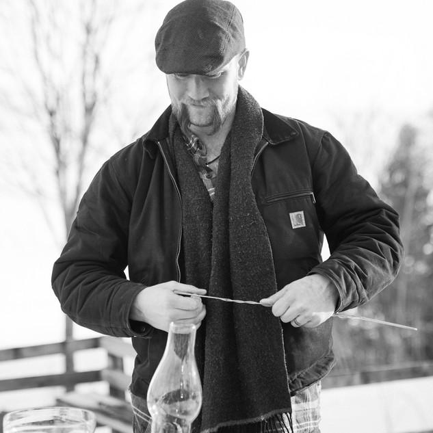 A man fixing something
